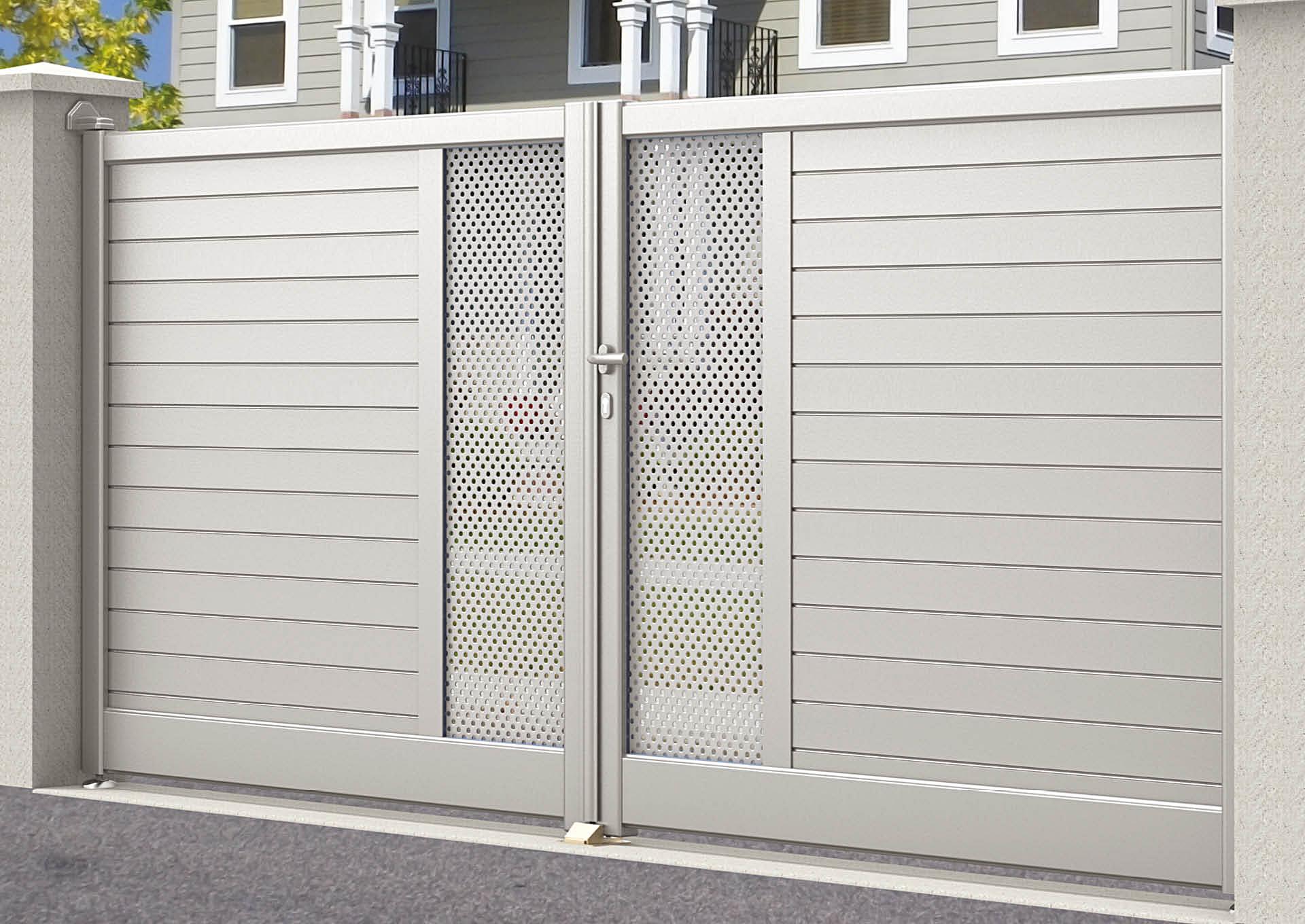Portail battant en aluminium Lames horizontales 100 mm + décor tôle perforée Ø6 mm
