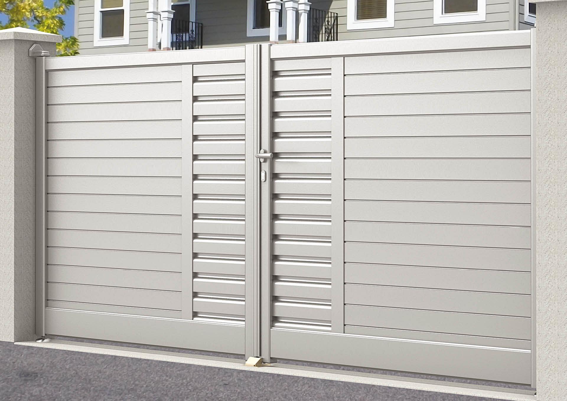 Portail battant en aluminium 9031_B_PHZH Lames horizontales 100mm + décor lames vent