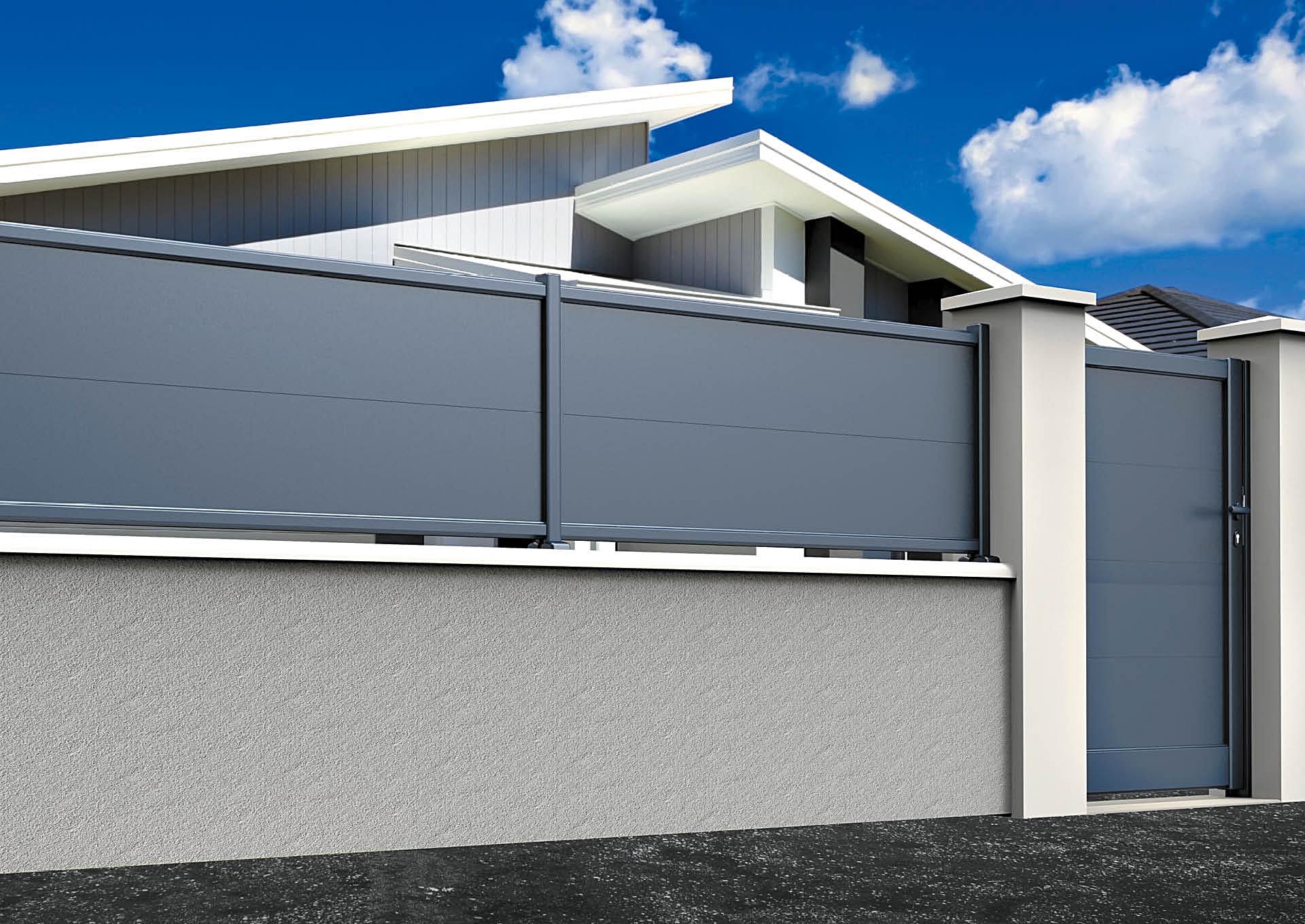 Clôtures aluminium lames horizontales 340 mm