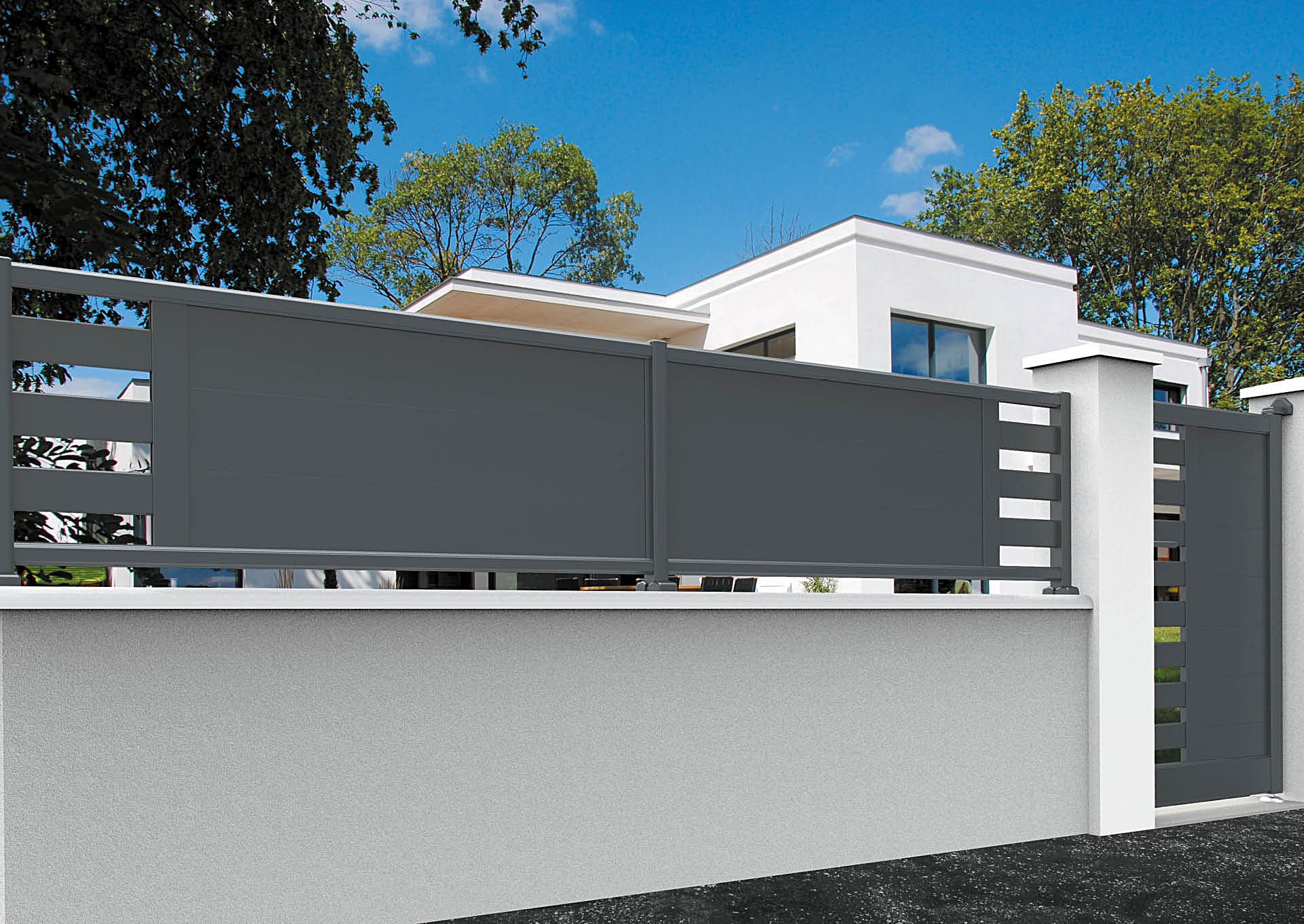 Clôture en aluminium 9013_CL_P2LE Lames horizontales 200mm + décor lames espacées