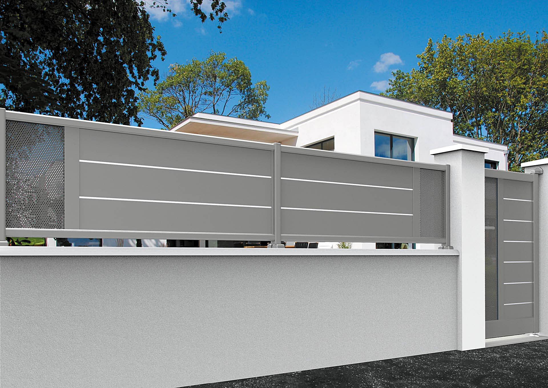 Clôture en aluminium 9013_CL_S2TP Clôtures lames horizontales 200mm et liserés + décor tôle perforée