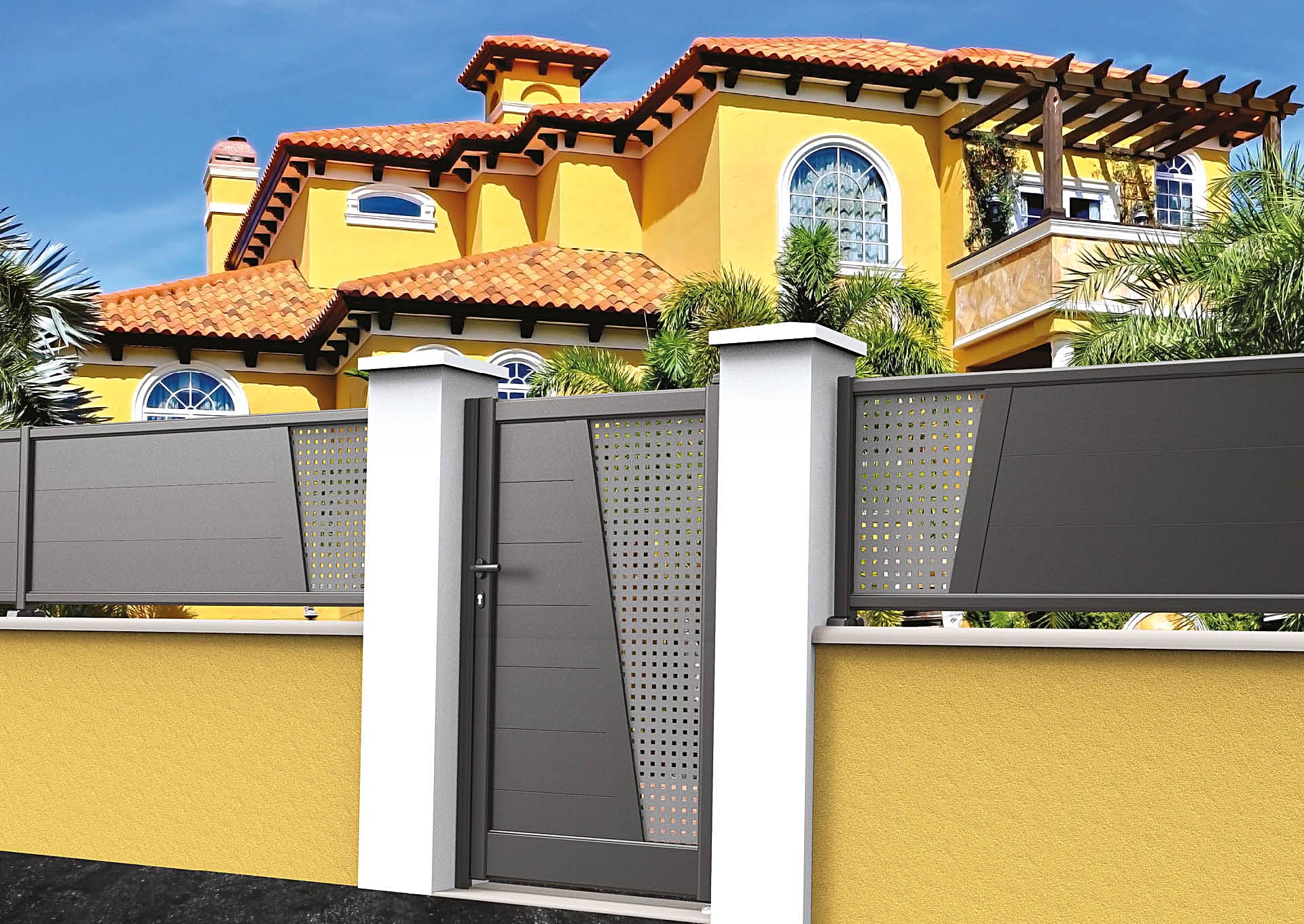 Clôture en aluminium 9052_CL_P2SI Lames horizontales 200mm + décor style inox
