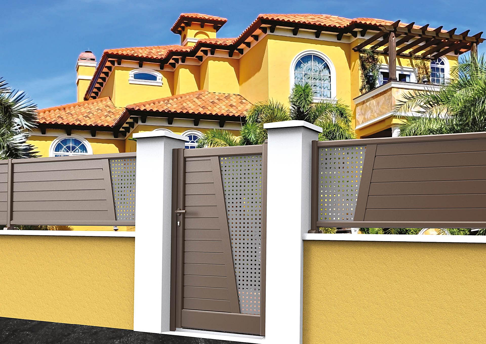 Clôture aluminium Lames horizontales 100 mm + décor style inox