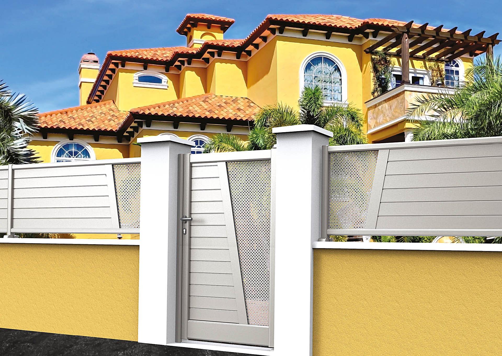Clôture en aluminium 9052_CL_PHTP Lames horizontales 100mm + décor tôle perforée