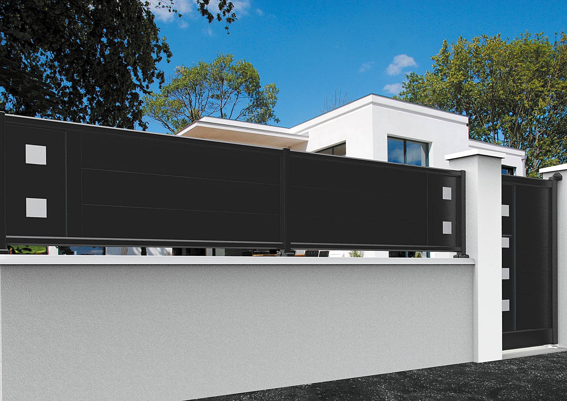 Clôture en aluminium 9110_CL_P2DA Lames horizontales 200mm + décor imitation inox Carrés pleins
