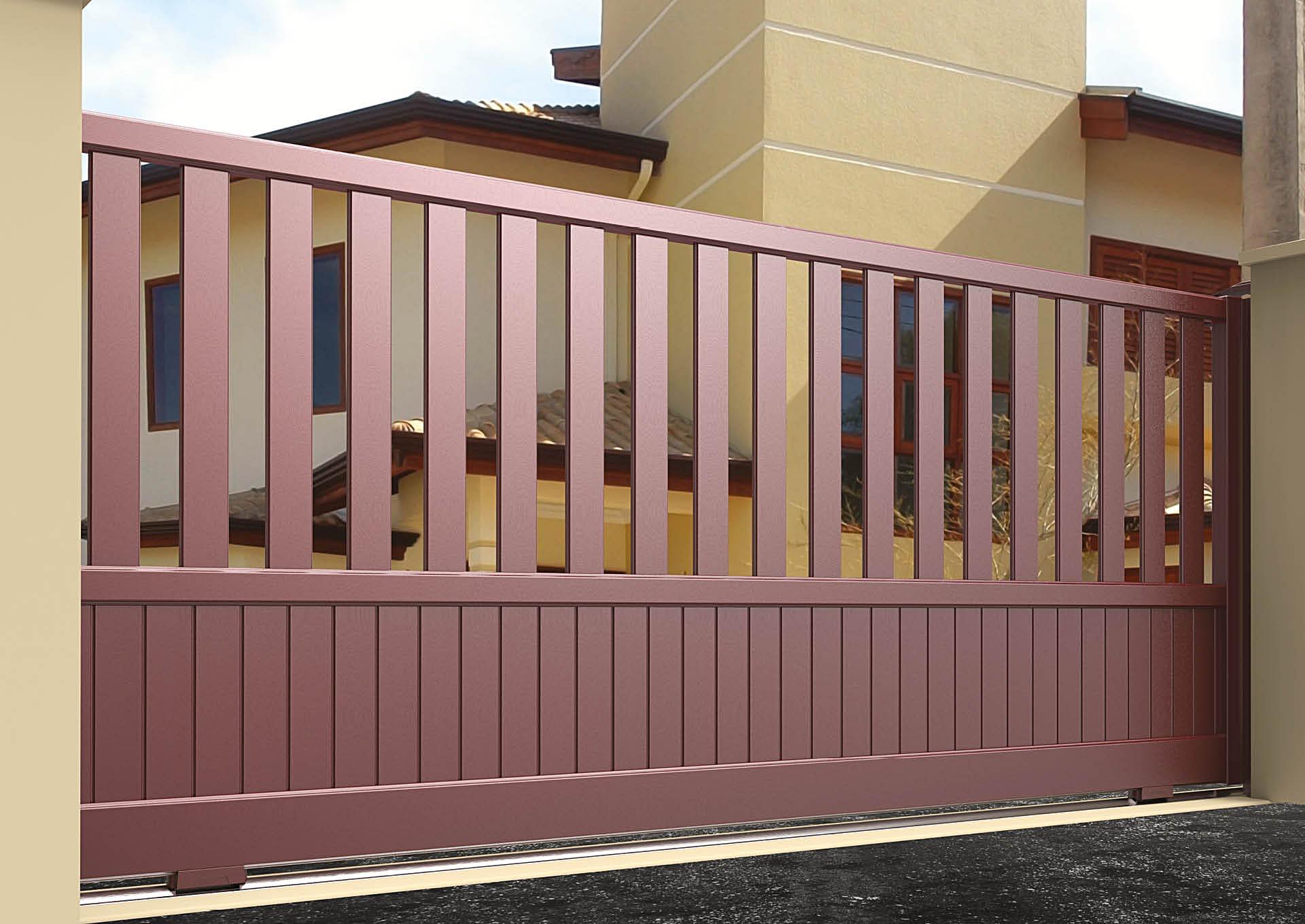 Portail coulissant aluminium Lames espacées verticales 100 mm + Lames verticales 100 mm