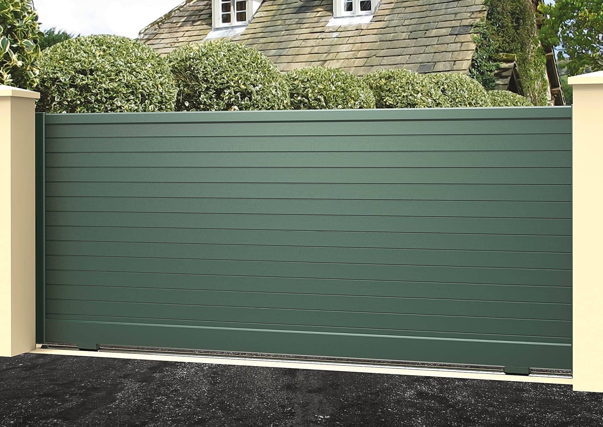 Portail coulissant aluminium Lames horizontales 100 mm