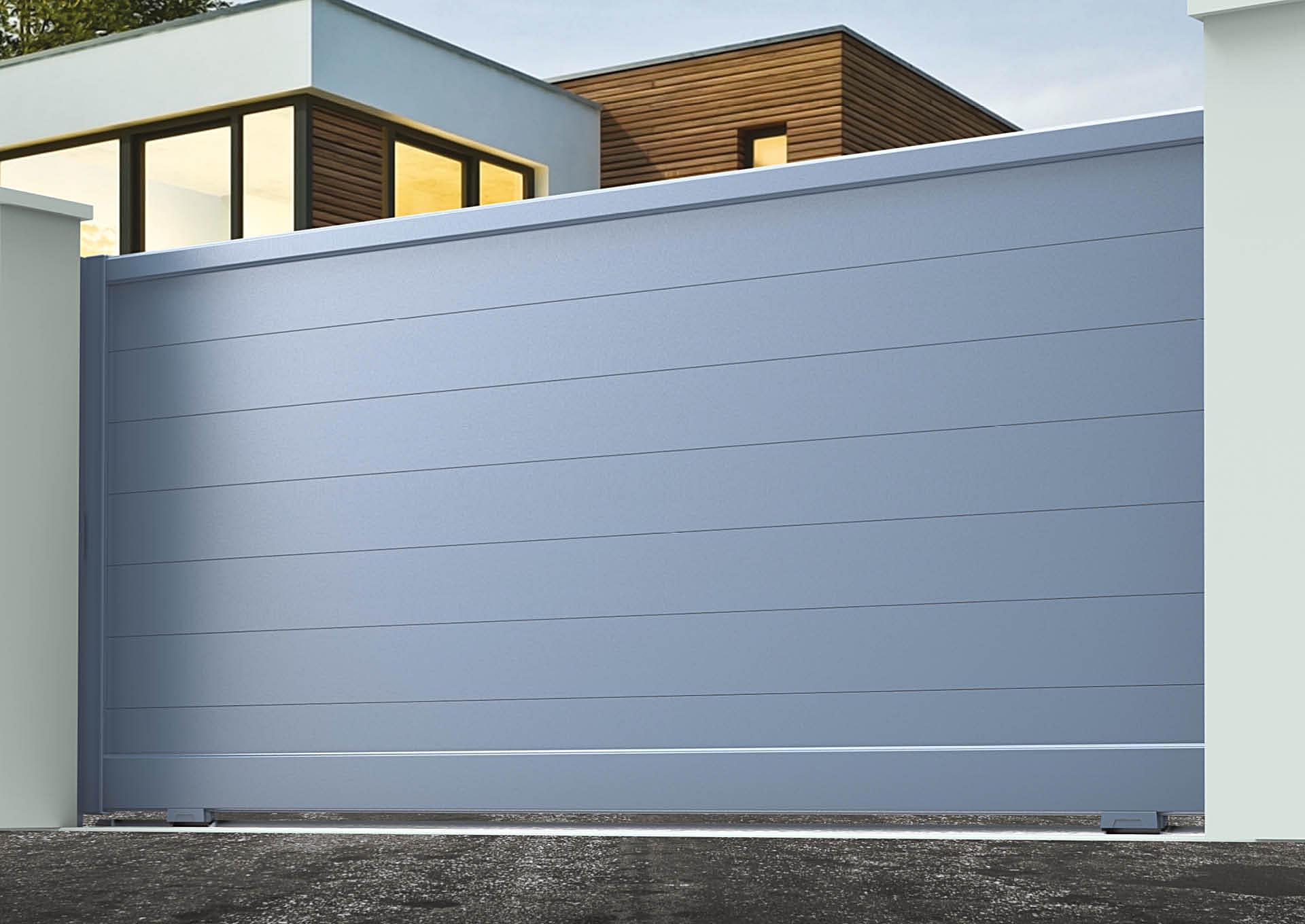 Portail coulissant aluminium Lames horizontales 200 mm