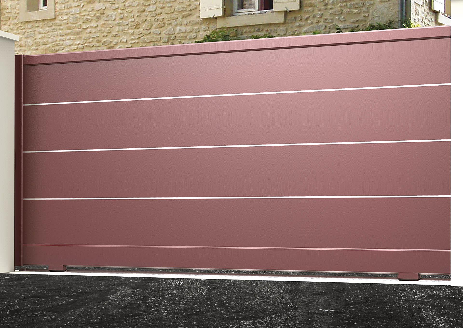 Portail coulissant 9000_C1_S3 Lames horizontales 340mm + liserés