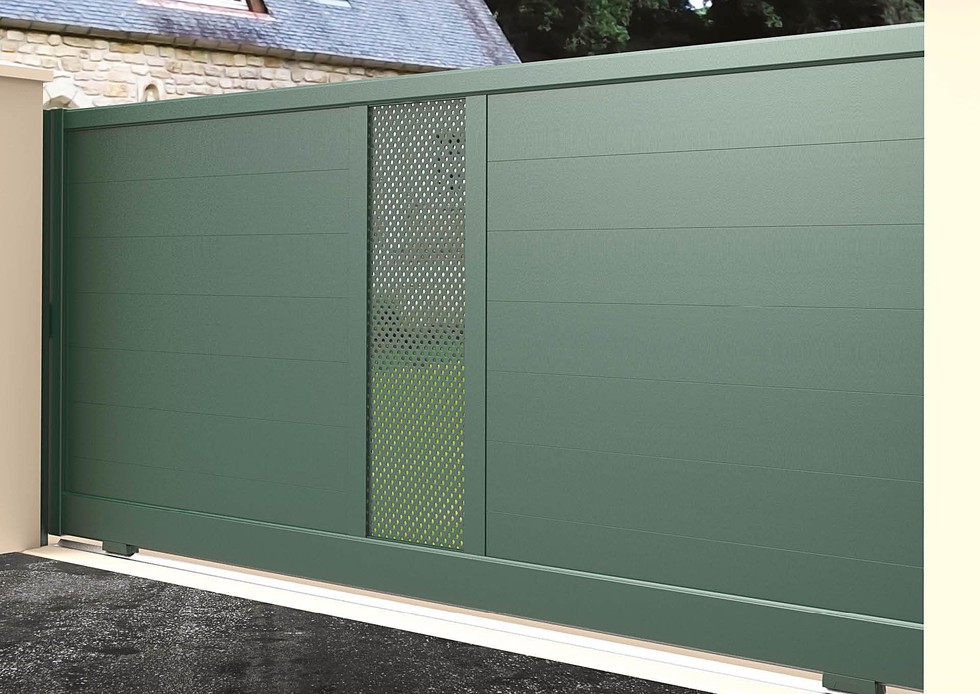 Portail coulissant aluminium Lames horizontales 200 mm + décor tôle perforée Ø6 mm