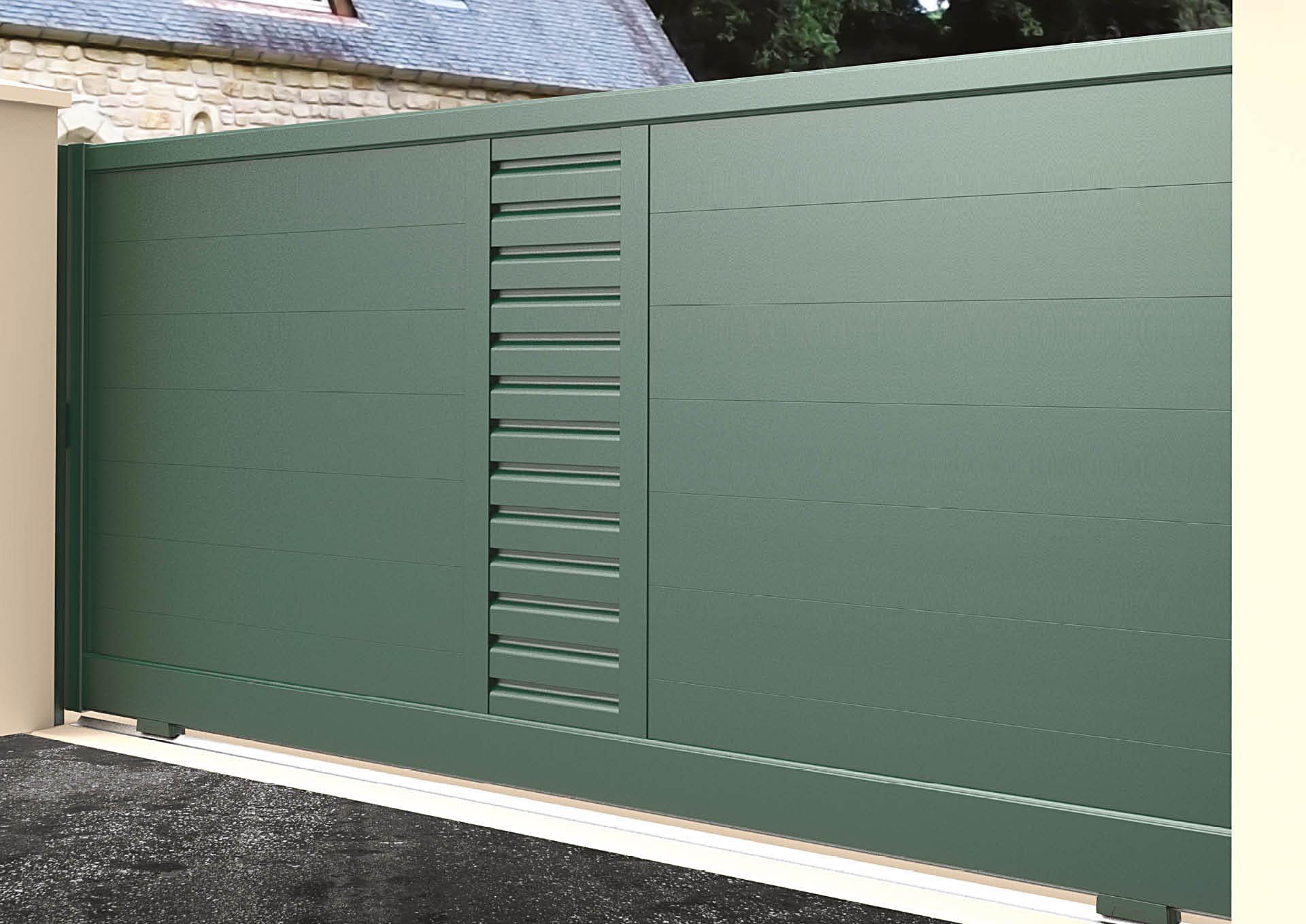 Portail coulissant 9022_C1_P2ZH Lames horizontales 200mm + décor lames vent