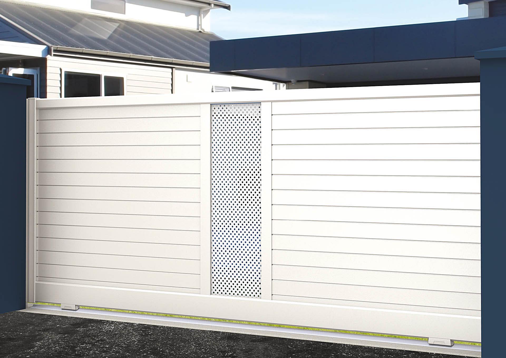 Portail coulissant aluminium Lames horizontales 100 mm + décor tôle perforée Ø6 mm