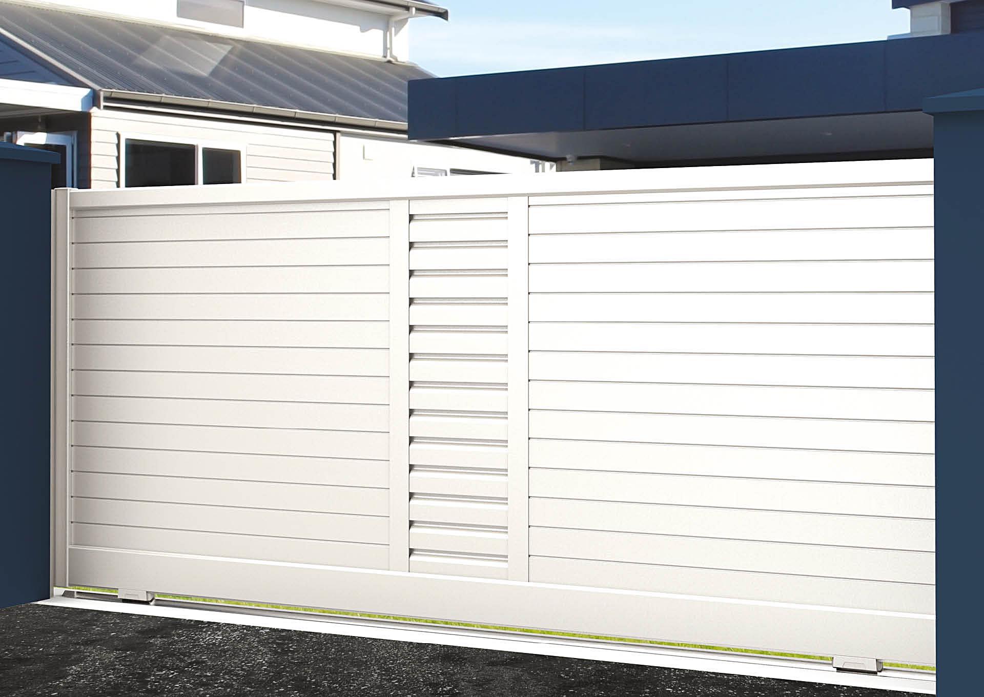 Portail coulissant 9022_C1_PHZH Lames horizontales 100mm + décor lames vent