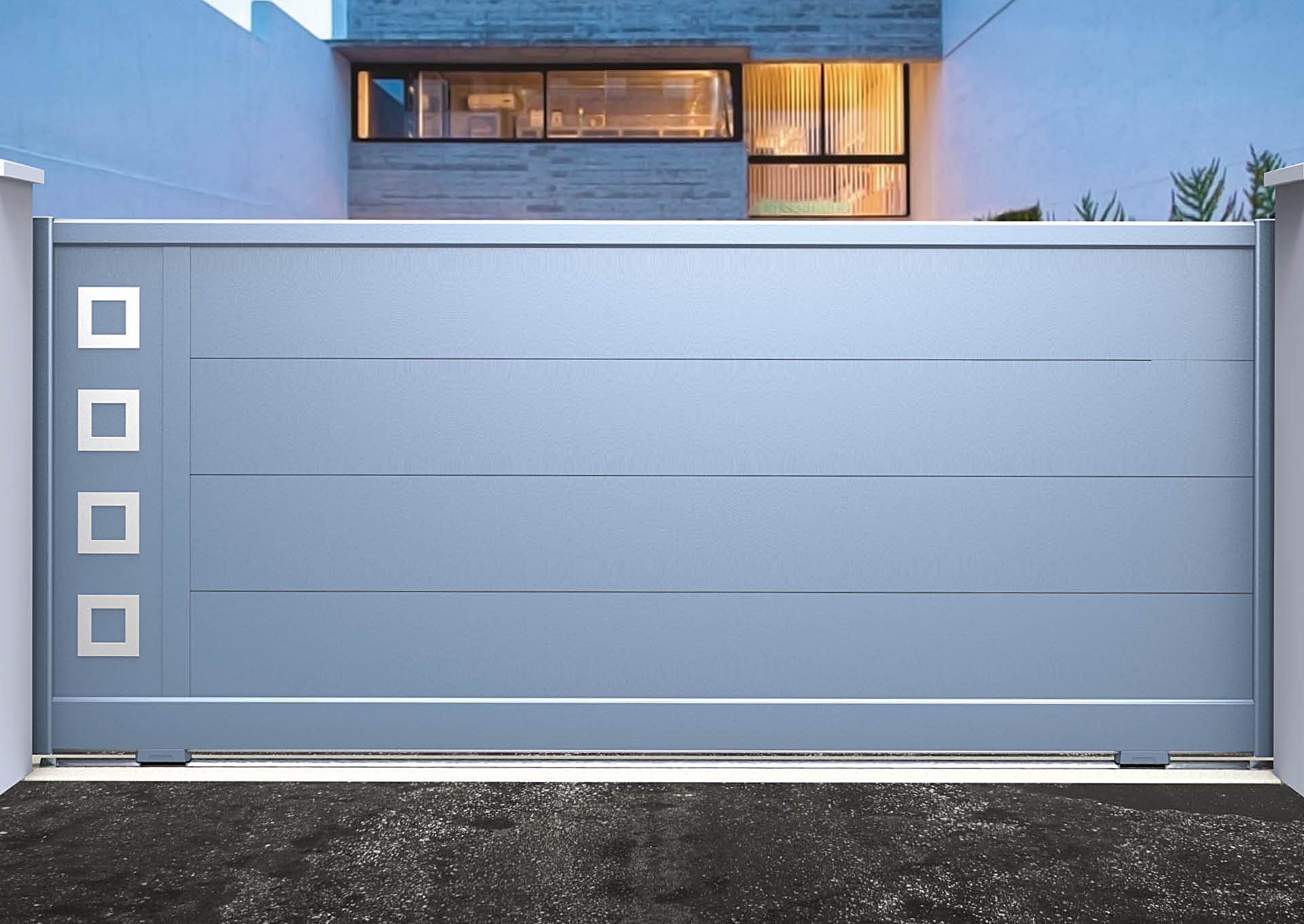 Portail coulissant 9109_C1_P3DA Lames horizontales 340mm + décor alu brossé Carrés creux