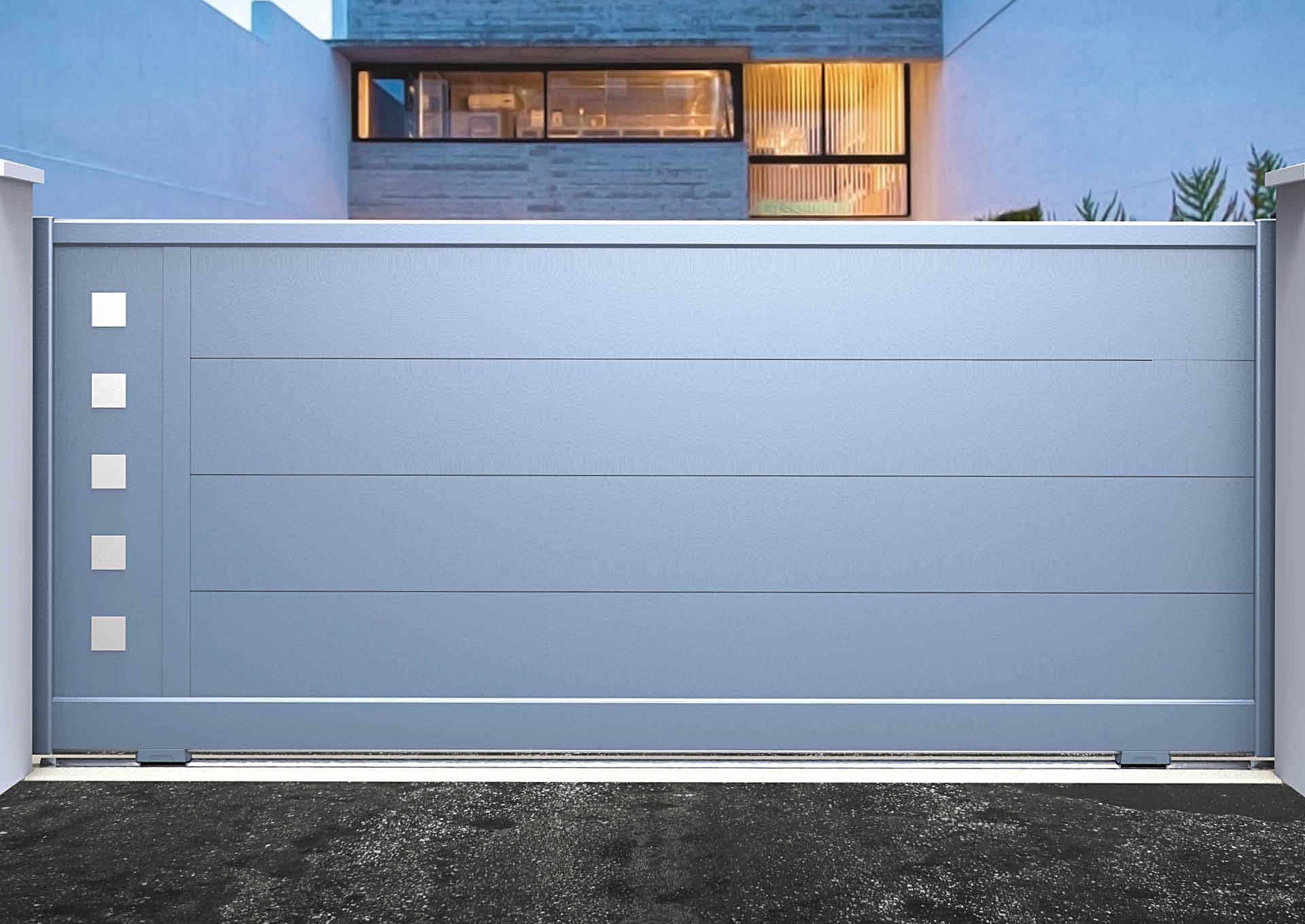 Portail coulissant 9110_C1_P3DA Lames horizontales 340mm + décor alu Carrés pleins