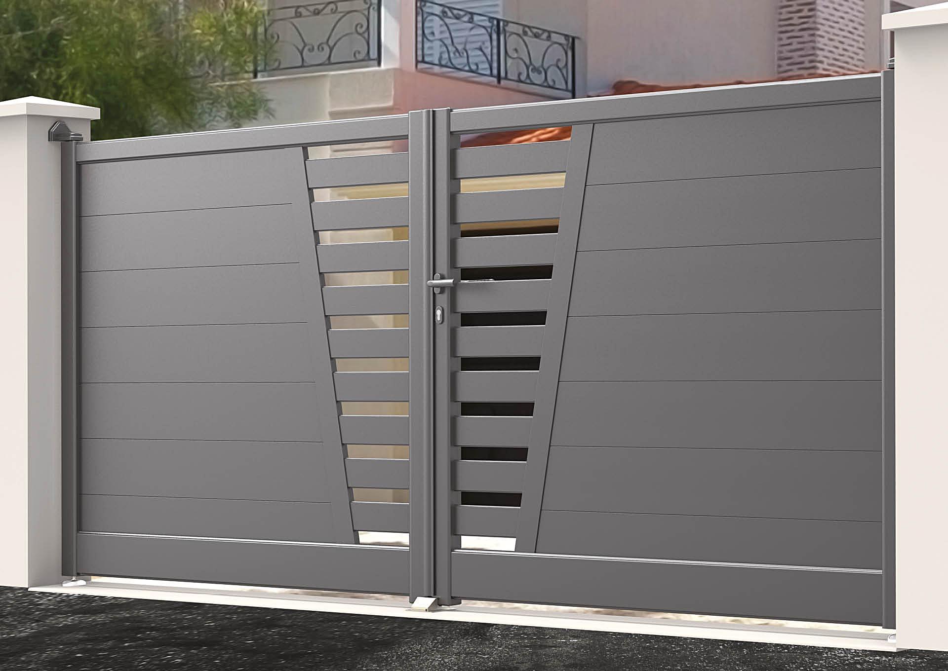 Portail battant en aluminium 9050_B_P2LE Lames horizontales 200mm + décor lames espacées