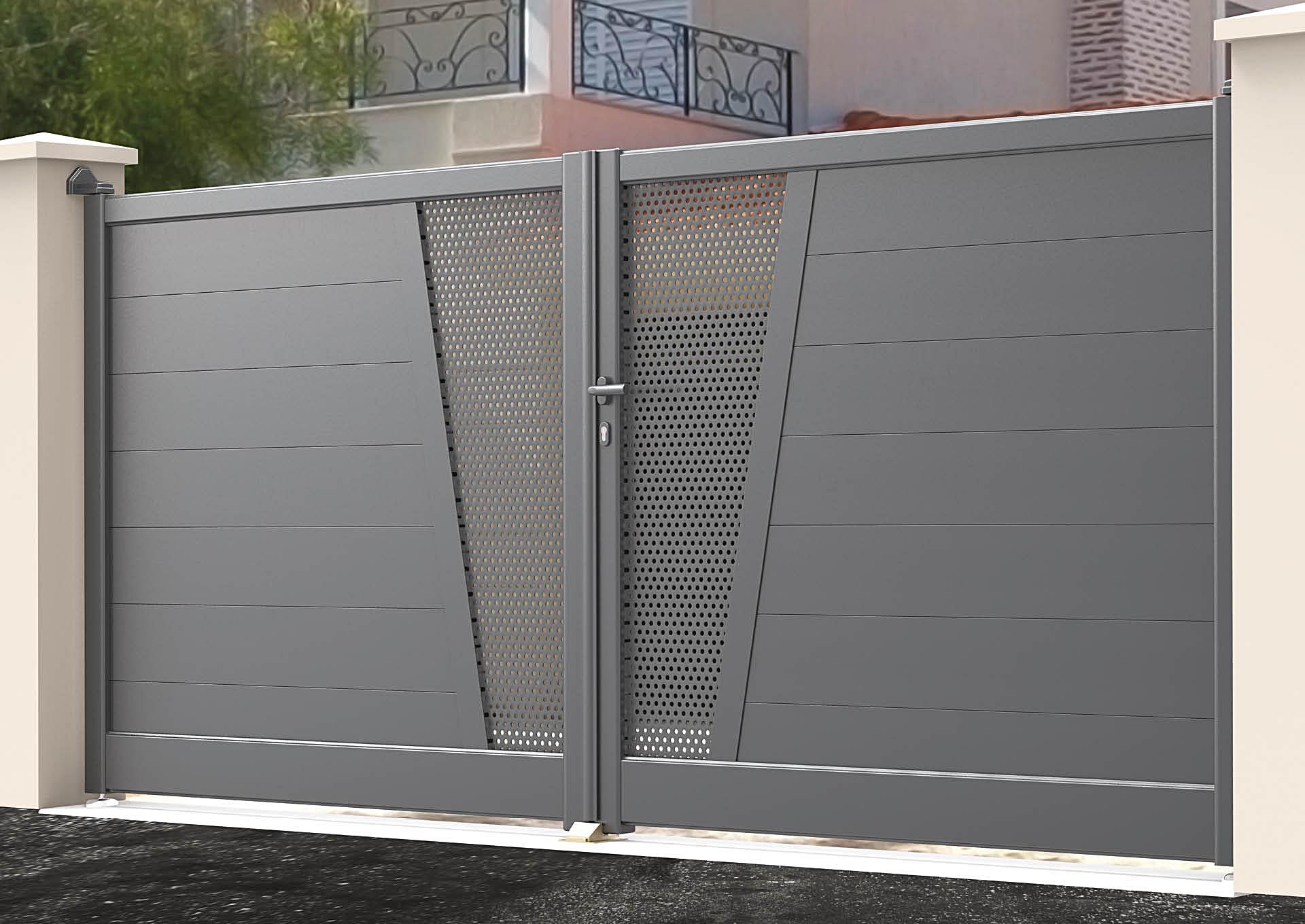Portail battant en aluminium 9050_B_P2TP Lames horizontales 200mm + décor tôle perforée Ø6mm