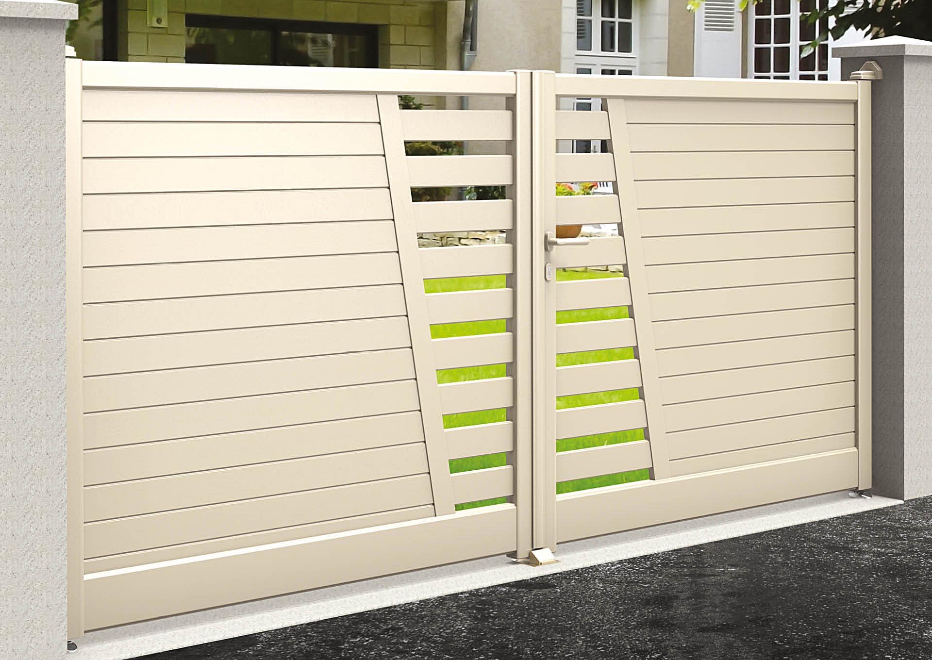 Portail battant en aluminium 9051_B_PHLE Lames horizontales 100mm + décor lames vent