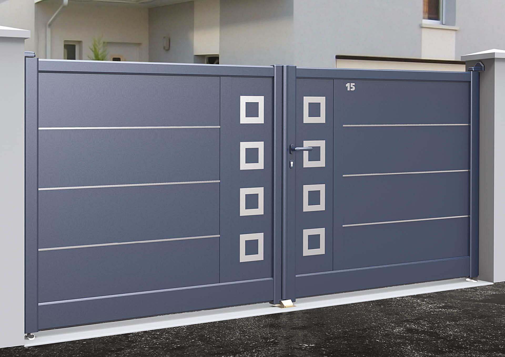 Portail battant en aluminium Lames horizontales 340 mm + liserés avec décor alu brossé Carrés creux