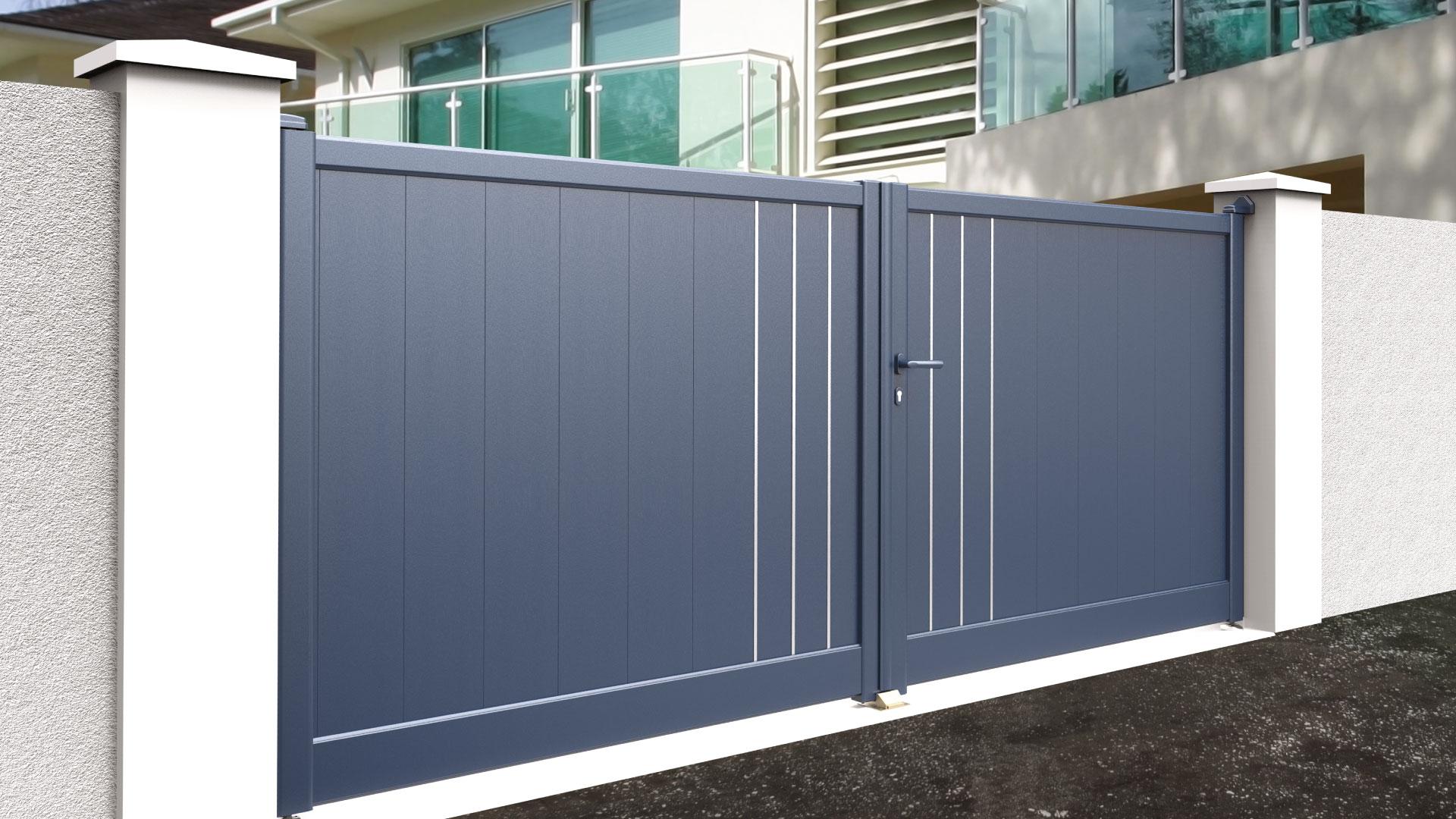 Portail aluminium battant design